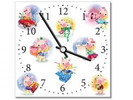 (31919) Часы квадратные «Весёлые свинки»