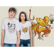 (32041) Две футболки с парным дизайном «Рыбак и его Золотая рыбка»