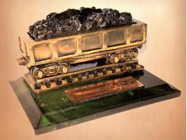 Настольный сувенир-визитница «Вагон с углем» 12х8,5х6,5 см