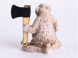 Сувенир Медведь «ЛАПА ПУХ С ТОПОРОМ» высота 6,5 см