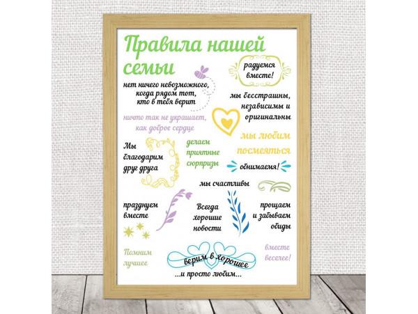 (32117) Плакат-постер «Правила нашей семьи» на бумаге, холсте, магните