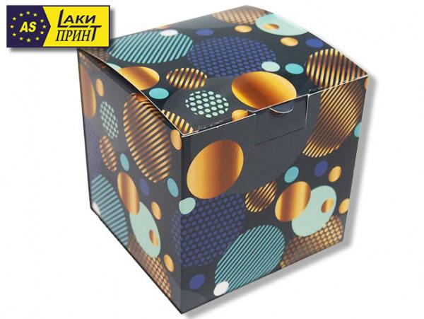 Подарочная коробка для кружки «Синие шары» (без окна)